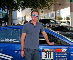 Ryan Gates put his K&N sponsored 2008 Mitsubishi Evo X on display at the SEMA Show in Las Vegas, Nevada