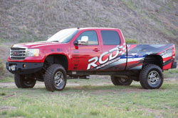 "RCD displayed a 2013 GMC 2500 HD with the RCD 6"" suspension system as their booth vehicle at SEMA"