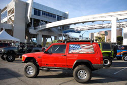 RCD's second feature at the 2013 SEMA show was a 2000 Jeep Cherokee, complete with suspension system, roof rack, and front and rear bumpers