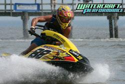 Multiple International Jet Sports Boating Association (IJSBA) World Champion Rob Flores races a Raceskis.com-built Stock class Kawasaki SX-R.