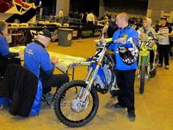 Team mechanic, Steven Doss, taking a bike through inspection. Photo by Vurbmoto.