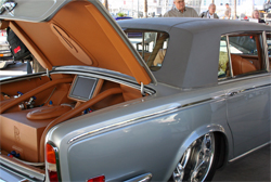 Luxury additions on the 1970 Silver Shadow include a leather trunk with matching battery covers and one of four television sets