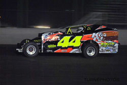 Russell Morseman leads the pack during a recent race at the Blackrock Speedway, in Dundee, New York.