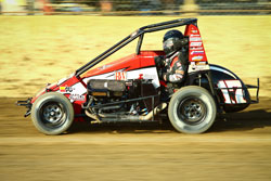 Bobby Santos drives the #17 K&N sponsored midget car