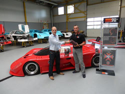 Herbert Boender, Managing Director Saker Sportscars, and K&N's Marcel Blom at Saker factory in Holland (left to right).