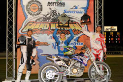 Sammy Halbert, Johnny Lewis, and Jake Johnson, three K&N backed riders, filled the podium in the opening race at the Daytona Short Track Championship. Photo by Dave Hoenig.
