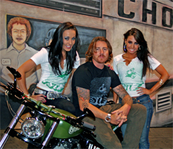 Custom motorcycle builder Roland Sands and models showcase his builds at the SEMA Show in Las Vegas