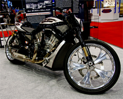 Roland Sands Designs sleek custom bike which was featured in the K&N Booth at the SEMA Show in Las Vegas, Nevada