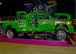 First 4X4 awarded 2009 Best of Show by DUB in San Jose, California is a modified 2004 Dodge Ram 4X4 Diesel Dualie
