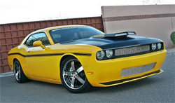 2009 Challenger RT was transformed from a silver metallic stock car to bright yellow car show with satin black for SEMA Show at the Las Vegas Convention Center in Nevada
