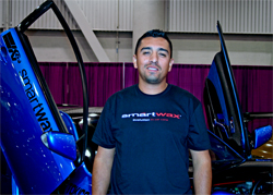 Jeff Maldonado of Los Angeles, California brought his modified 2006 Scion tC to the SEMA Show at the Las Vegas Convention Center in Nevada
