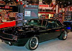 1969 Camaro with a twin turbo charged 572 cubic inch big block engine on display in the K&N booth at SEMA