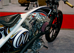 A custom built one off motorcycle with a Harley Davidson based motor