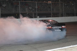 Victory burnout from Sergio Peña