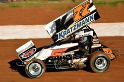#77 Sprint car driver Shane Stewart in action down in Australia.