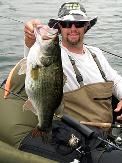 Tournament fisherman Shawn Norfolk coaxed this trophy largemouth from  Castaic Lake in California. Although not competing in a tournament on that particular day, he had managed to boat the most impressive largemouth bass of his life
