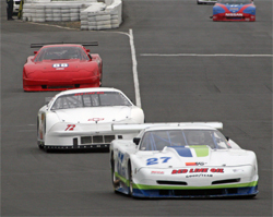 Corvette in the lead before No. 72 Monte Carlo took first place in the SCCA event, photo by Chuck Koehler