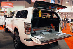 Toyota Tundra in the 2011 SNUGTOP SEMA booth