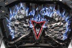 Custom air brushed hood of Adrian Sotelo's modified 2006 Pontiac GTO