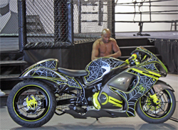 Ultimate Fighting Champion Anderson The Spider Silva with his custom Voodoo Industries 2008 Suzuki Hayabusa