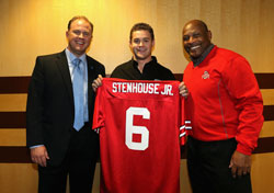 Nationwide Insurance CMO Matt Jauchius, Ricky Stenhouse Jr and former Heisman Trophy winner Archie Griffin