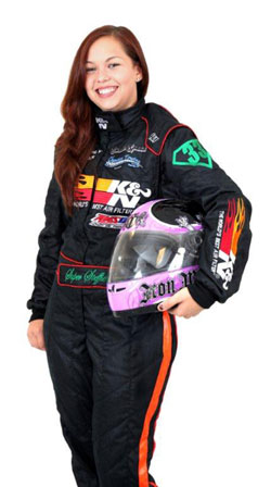 Stephanie Herbage proudly represents and rocks in her new K&N driving suit - Photo by: Adam Stadler.