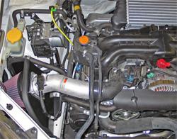K&N air intake system prototype installed in 2008 Subaru WRX