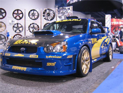 2005 Subaru WRX Sti on display in the Primax Wheels Booth at SEMA