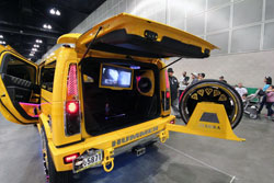 This beautiful 2004 Hummer H2 is equipped with Plasma TVs and Treo Audio components.