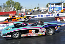 Two 1963 Corvettes on the line at the NHRA Lucas Oil Drag Racing Series, Pacific Division event at Auto Club Famoso Raceway, photo by Bob Johnson