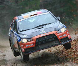 North American Rally Championship win for Andrew Comrie-Picard in Mitsubishi Lancer Evolution X, photo by Neil McDaid