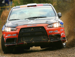 Aggressive fast driving in the season-ending Rally of the Tall Pines in Canada bent bodywork and tore off bumpers on the 150 kilometer course, photo by Neil McDaid