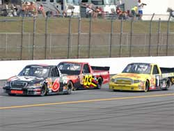 Travis Kvapil works his way back to the front of the pack at Talladega