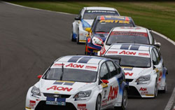 Team Aon's Onslow-Cole was leading the first race at Donington Park before a nudge from behind resulted in a spectacular six car incident. Tom Chilton did finish second.