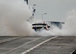 Up in smoke - that's how K&N's Dennis van der Prijt and his 1989 BMW E34 M5 rolled through the mean streets of Rotterdam.