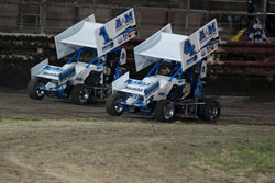 Older brother Michael drives the number 1, Gordon Seros Racing Engine powerplant car, Mitchell sticks along side in the number 4 car.