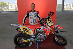 Rothbauer's weapon of choice is a Honda CRF450R modified for Supermoto.