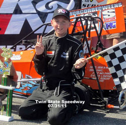 Teddy Hodgdon's second place finish at the Twin State Speedway