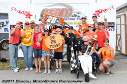 Teddy Hodgdon, his family, fans and team pose for a photo after the driver clinched the championship at Stafford Motor Speedway.