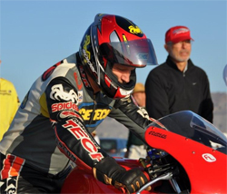 Rider Dusty Schaller put his Spider Grips equipped DynoJet FL Racing Honda CBR 600 RR in the 200 mph club at Bonneville