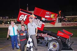 Kody's first win with the SpeedChasers, Inc. team came at M-40 Speedway in Michigan. Photo by Chris Seelman.
