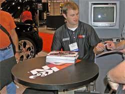 Travis Kvapil in K&N booth at SEMA