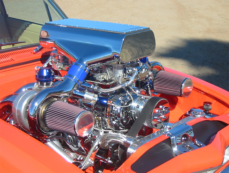 Car Engine Blower : Performance twin supercharger dodge challenger by