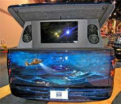 Phantasmic Entertainment ProVision 3D Holographic Imagery projected images behind the 2009 Ford F-150 Freedom Truck at SEMA