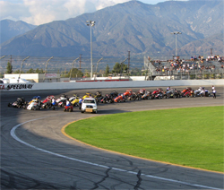 Turkey Night Grand Prix line-up at Toyota Speedway at Irwindale, California