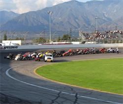 Turkey Night Grand Prix line-up at Toyota Speedway at Irwindale, California
