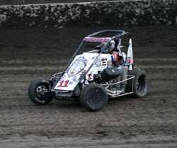 Garrett Hood driving the #11h Stealth Midget