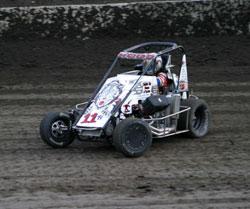 Garrett Hood driving the #11h Stealth Midget