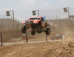 Dan Vance's modified Toyota Truck battled it out at Perris Auto Speedway in Perris, California