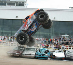 Iron Warrior beat Avenger in first round of racing in the Monster Spectacular
